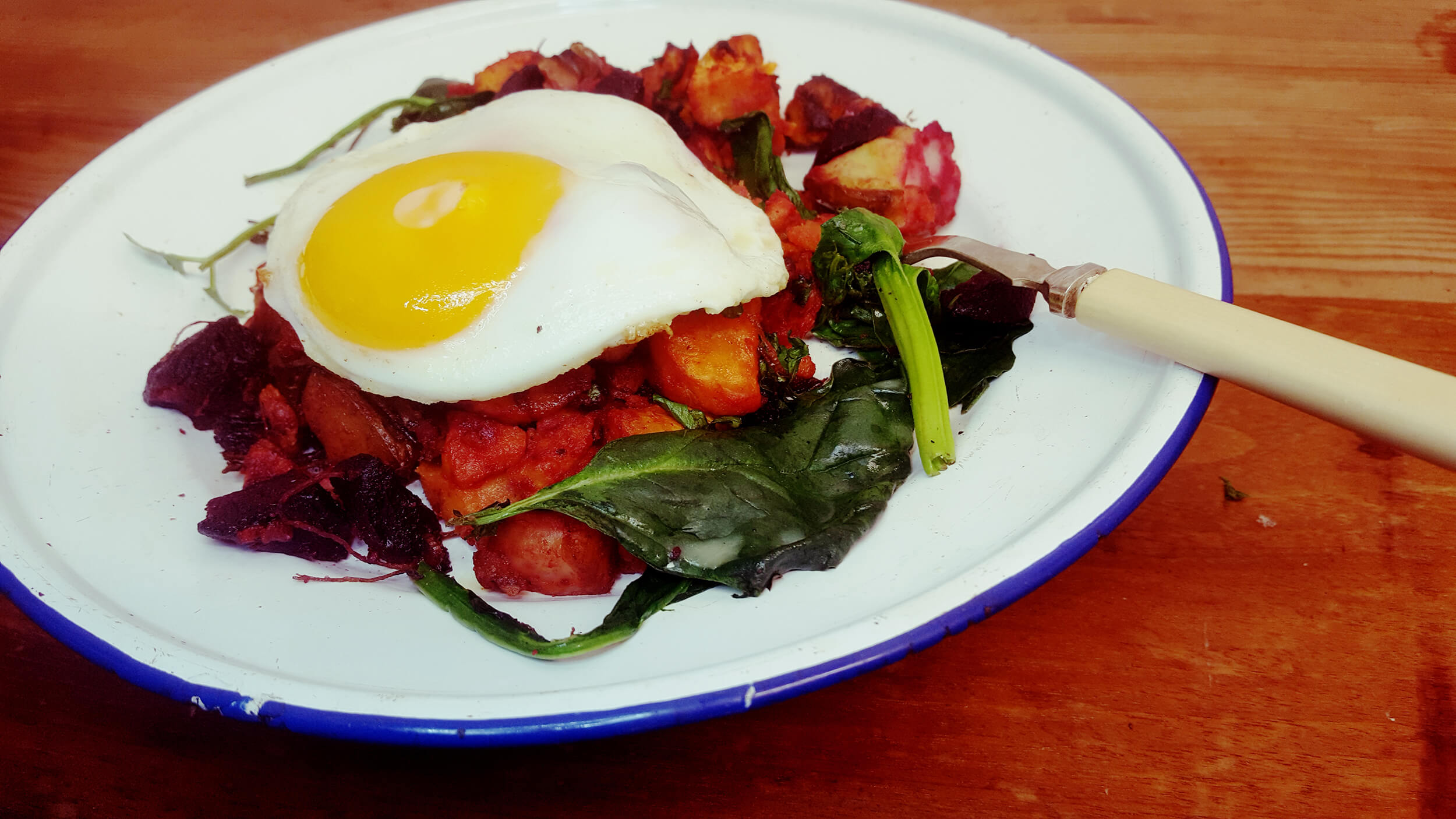 Red Flannel Hash with Egg on top